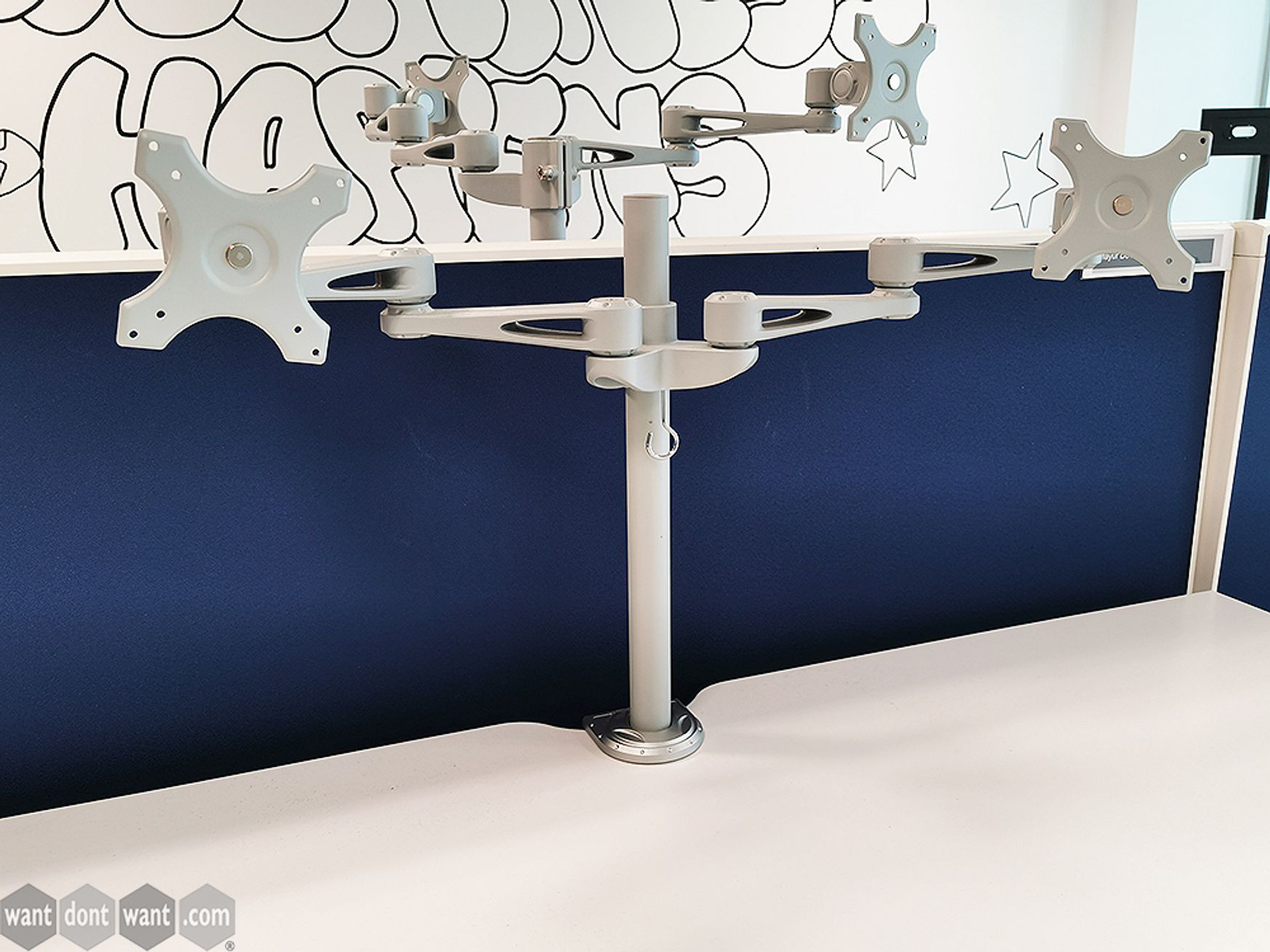 Used Grey/Silver Twin Monitor Arm with Desk Clamp