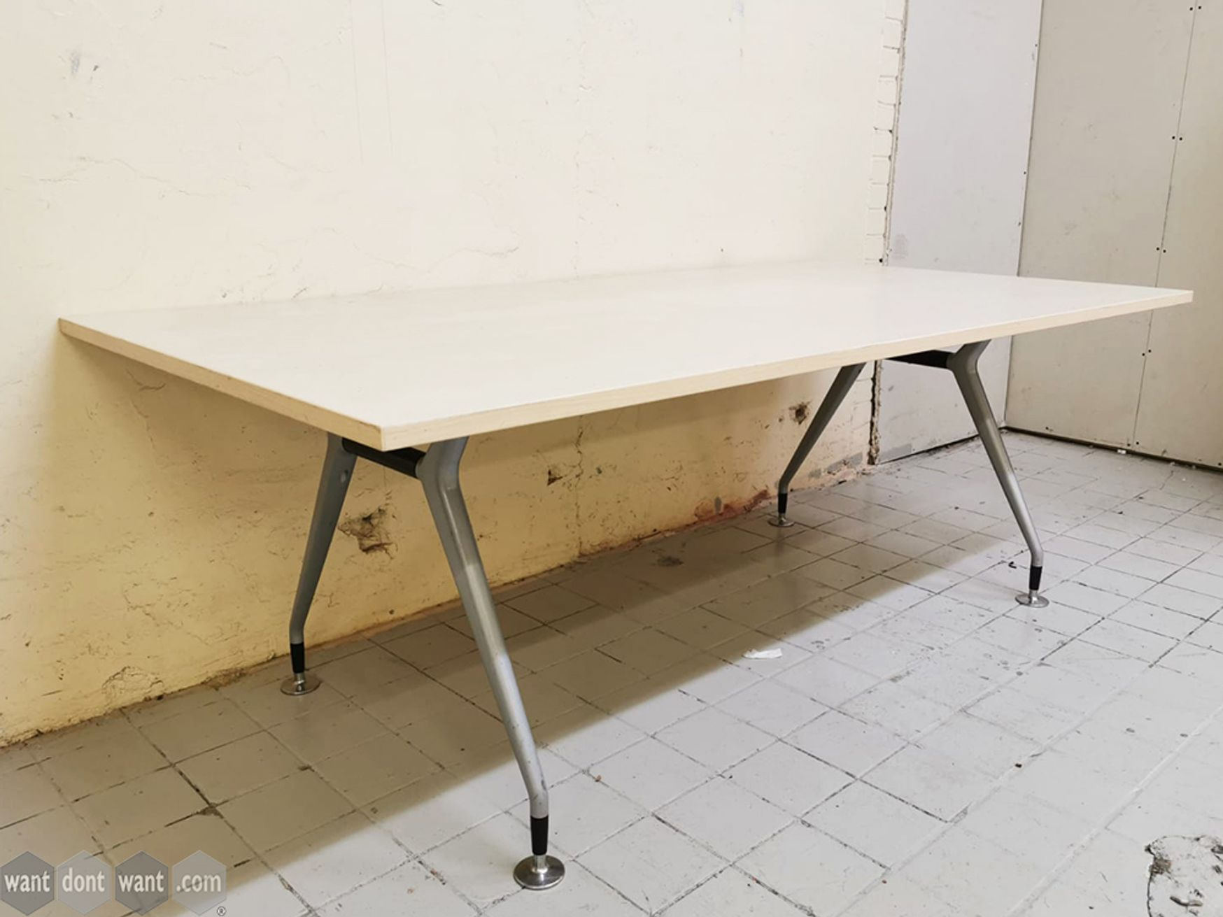 Used 2000mm Maple Meeting Table with Modern Splayed Leg Frame