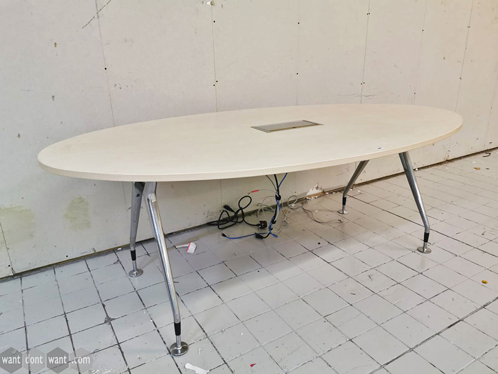 Used 2000mm Oval Meeting Table with Modern Splayed Leg Frame