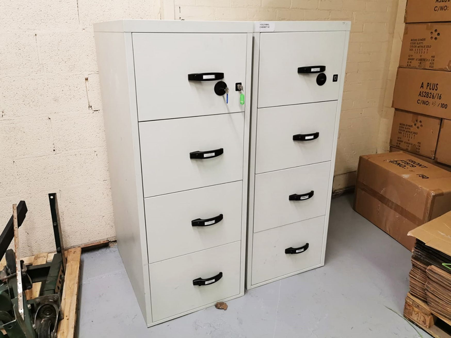 Used Chubb Profile NT 017-120 Fire Resistant 4 Drawer Filing Cabinet