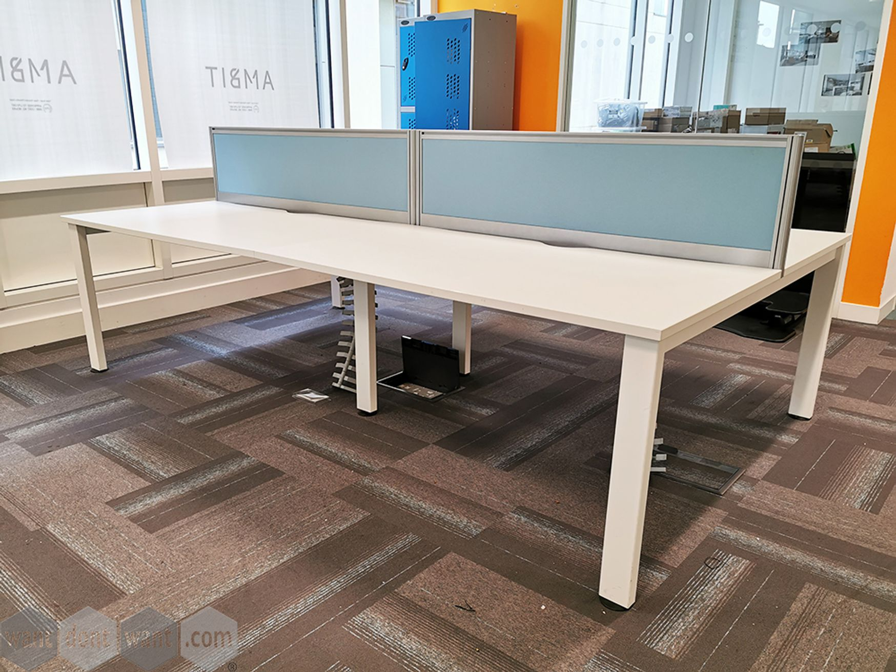 Used 1400mm Senator White Bench Desks - Screens and Cable Trays Included