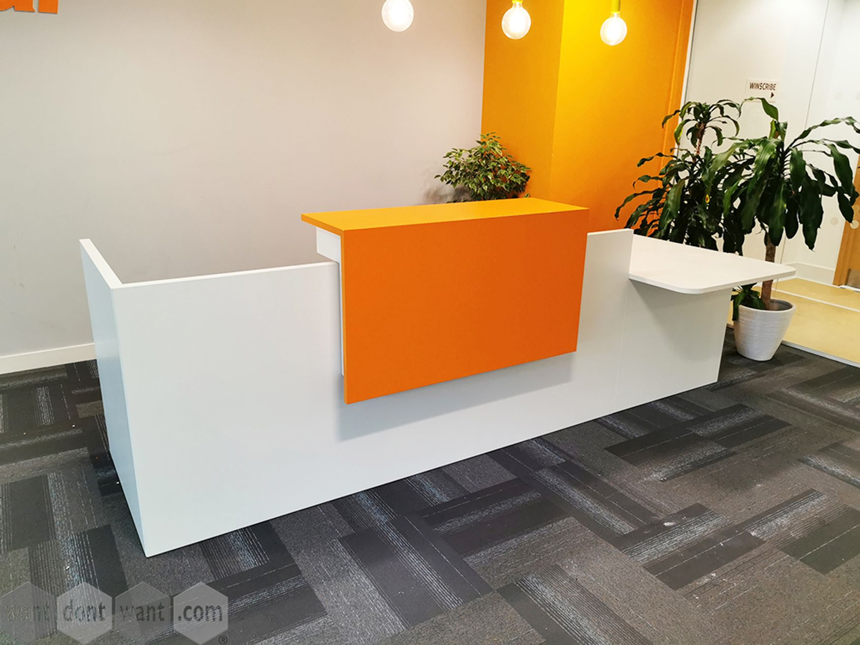 Used White Reception Desk with Orange Panel Shelf