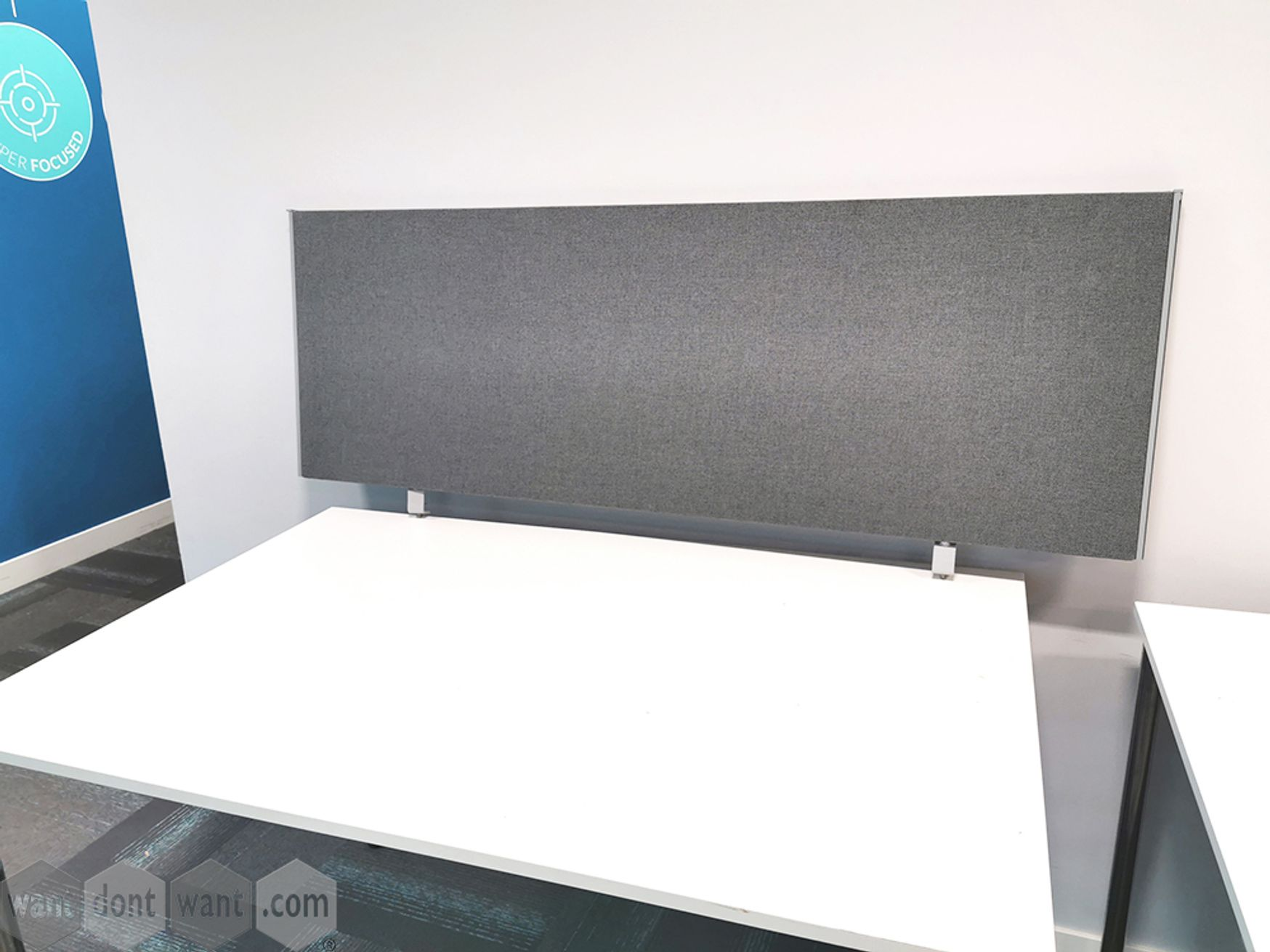 Used 1400mm Grey Fabric Desk Dividing Screens