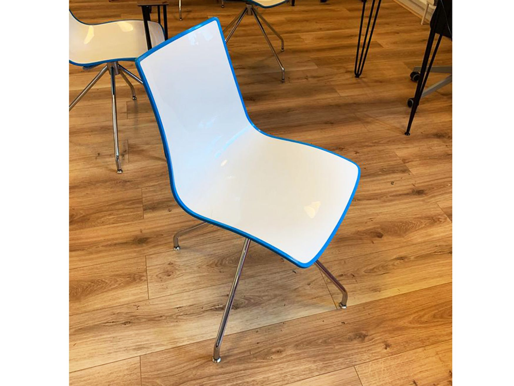 Used Gecko Canteen Chairs with Blue Back and Chrome Trestle Base