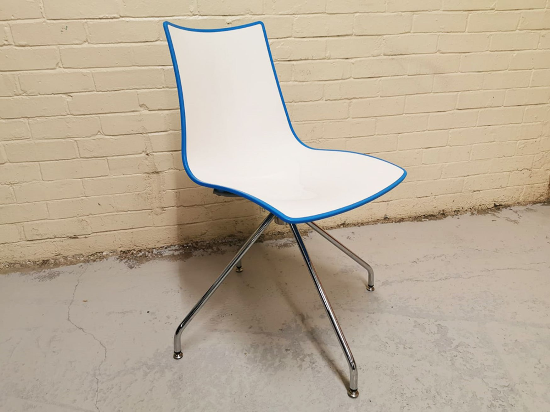 Used Cafe Chairs in White and Blue with Chrome Frame