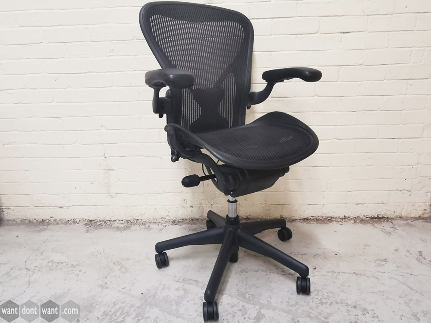 Used Size B Herman Miller Aeron Chairs in Graphite with PostureFit Lumbar Support
