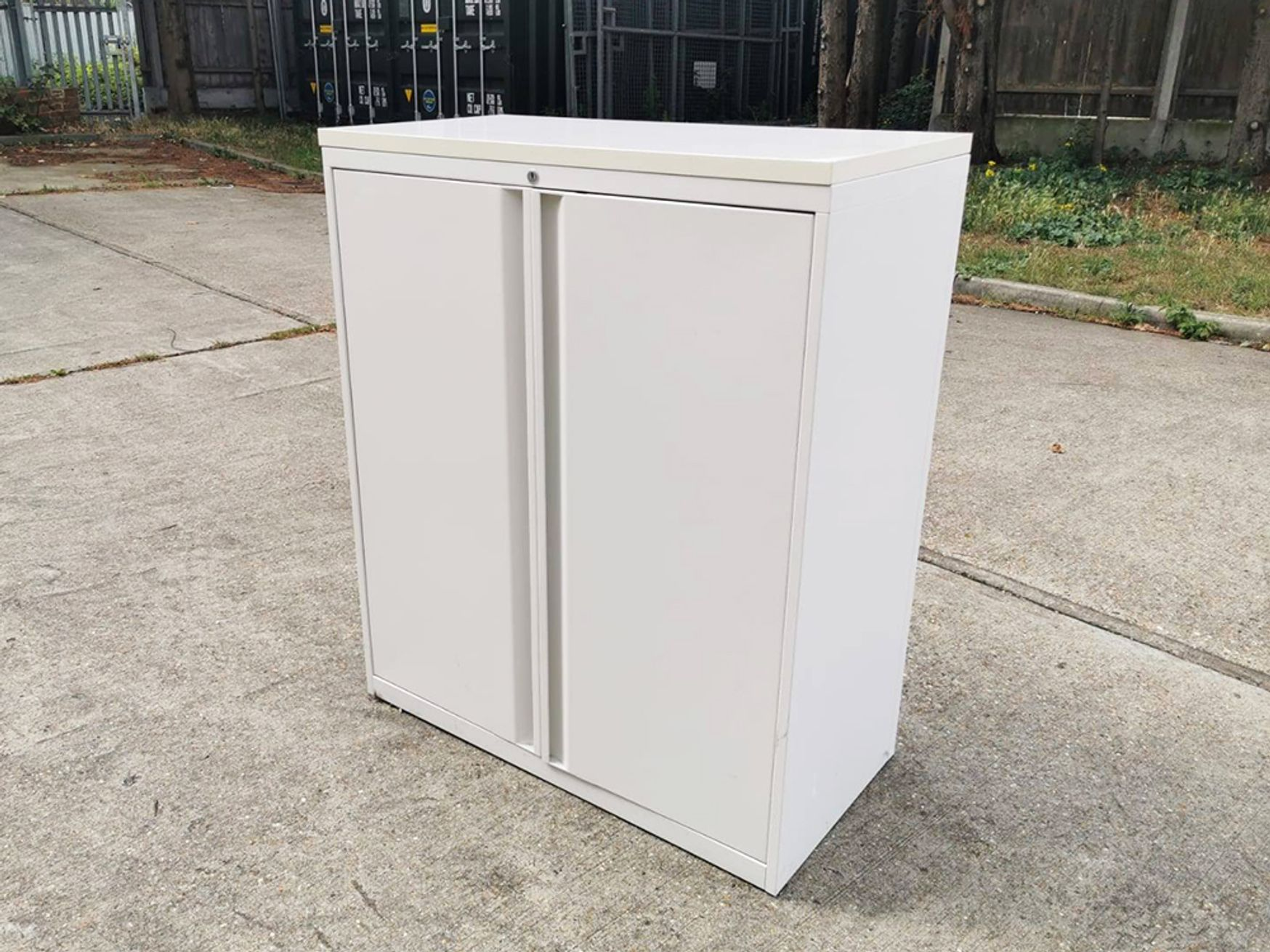 Used White Teknion Mid Height Double Door Cupboard with Shelves