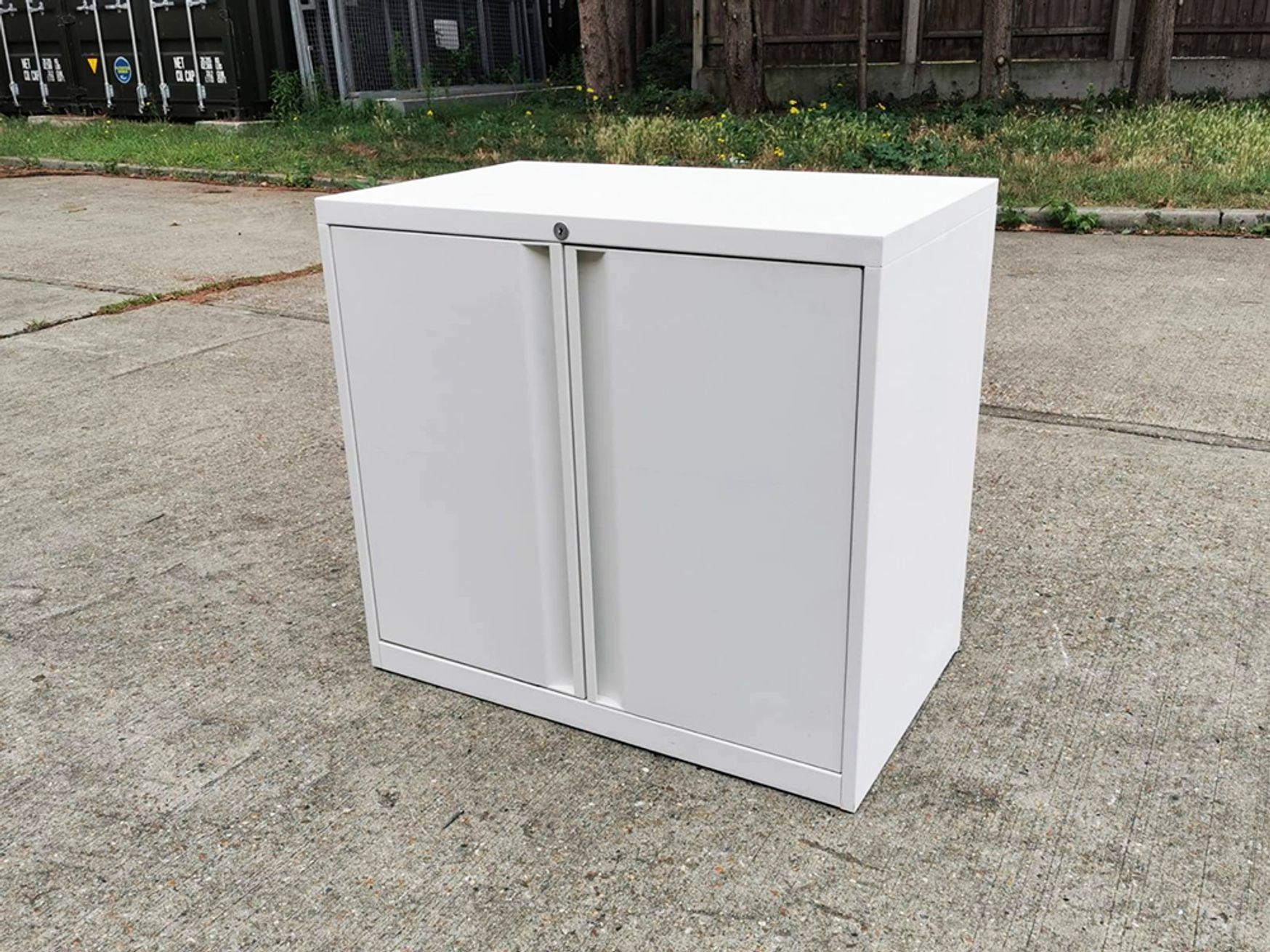 Used White Teknion Double Door Cupboard with Shelves