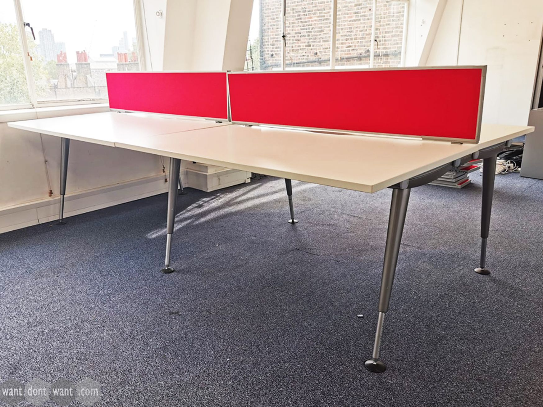 Used 1400mm Herman Miller Abak Bench Desk - 1 x 4 Person