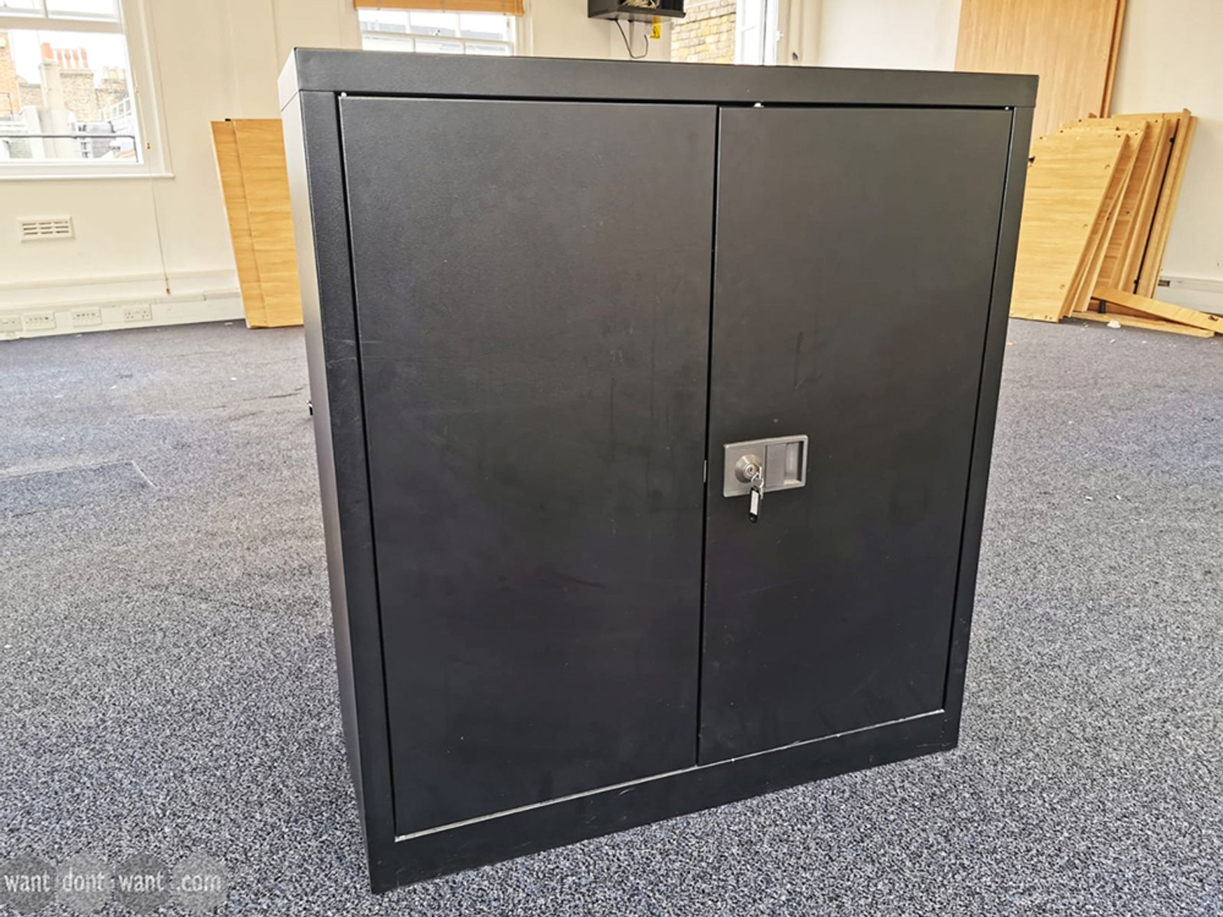 Used Black Metal Double Door Cupboard