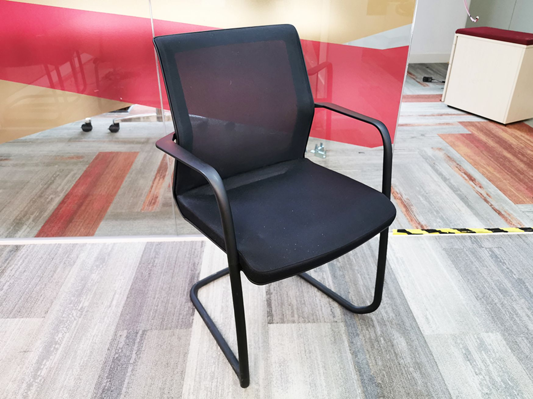 Used Orangebox 'Workday' Black Mesh Back Cantilever Boardroom Meeting Chairs