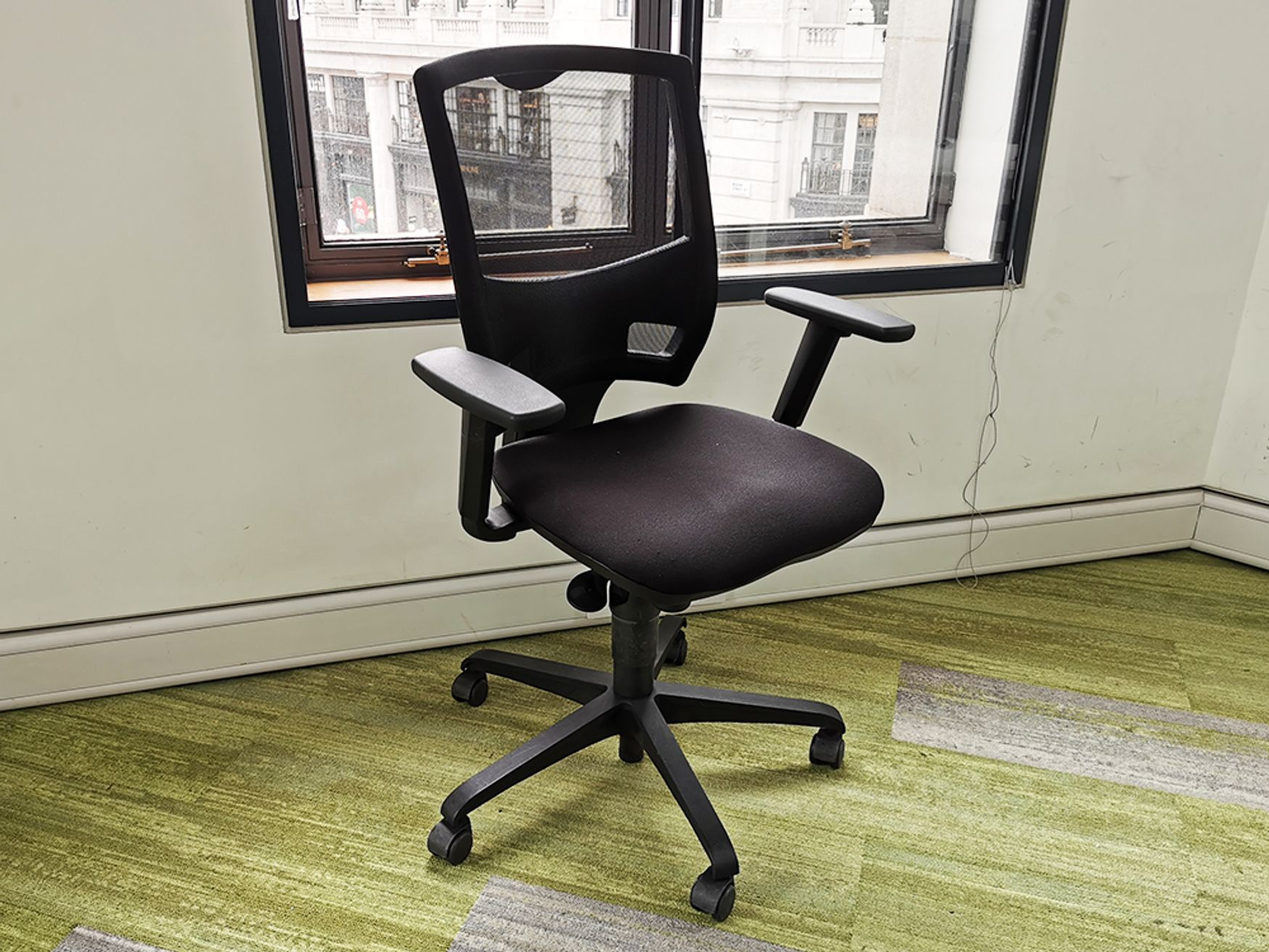 Used Mesh Back Operator Chairs with Black Fabric Seats