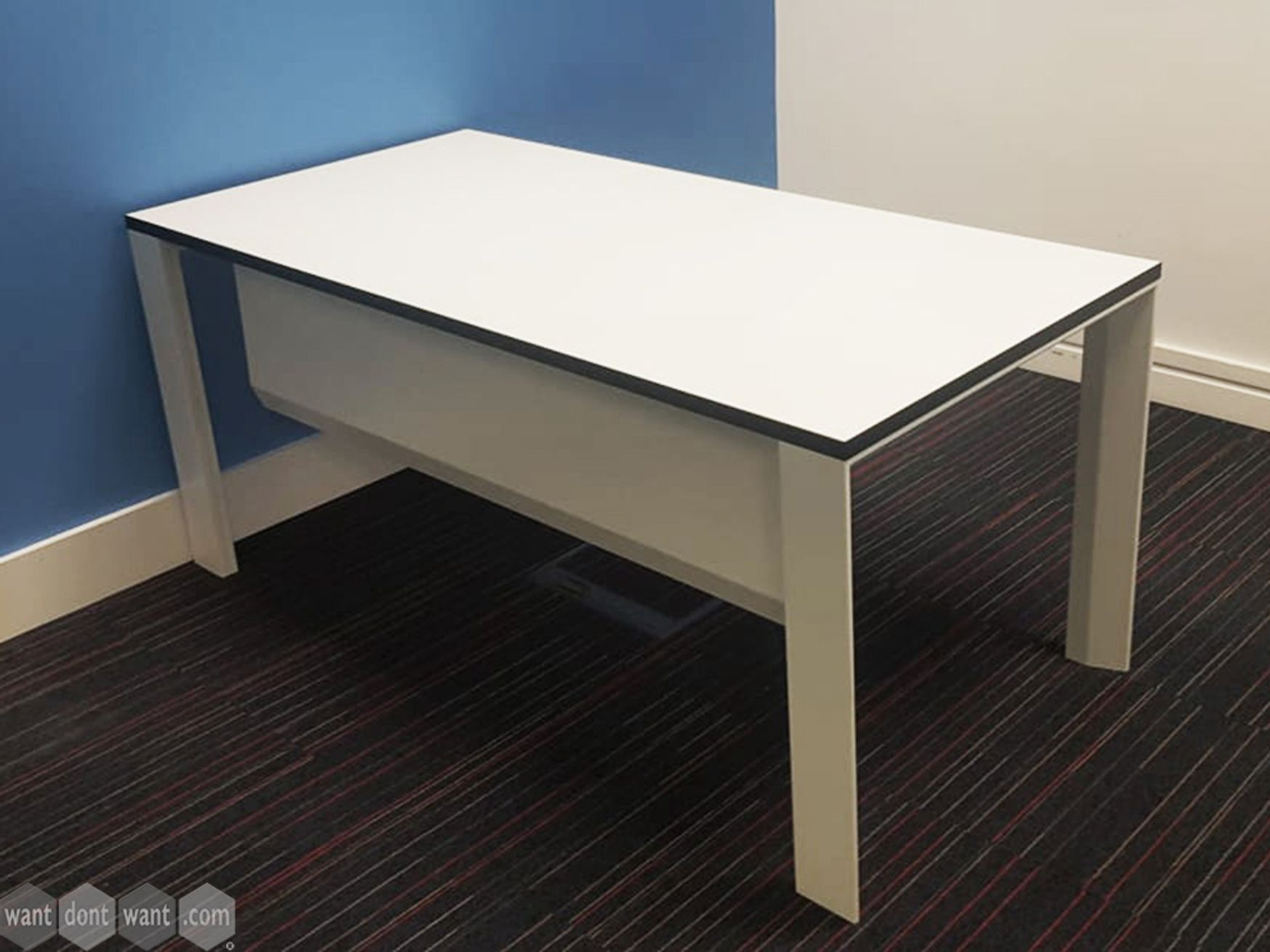 Used 1600mm White Single Desks with Cable Tray and Modesty Panel