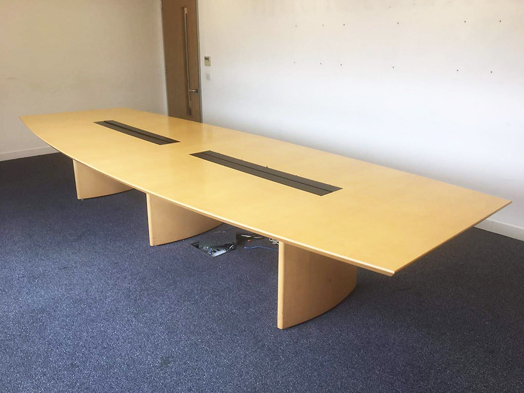 Used 4250mm Sven Barrel Shaped Boardroom Table with Cable Management