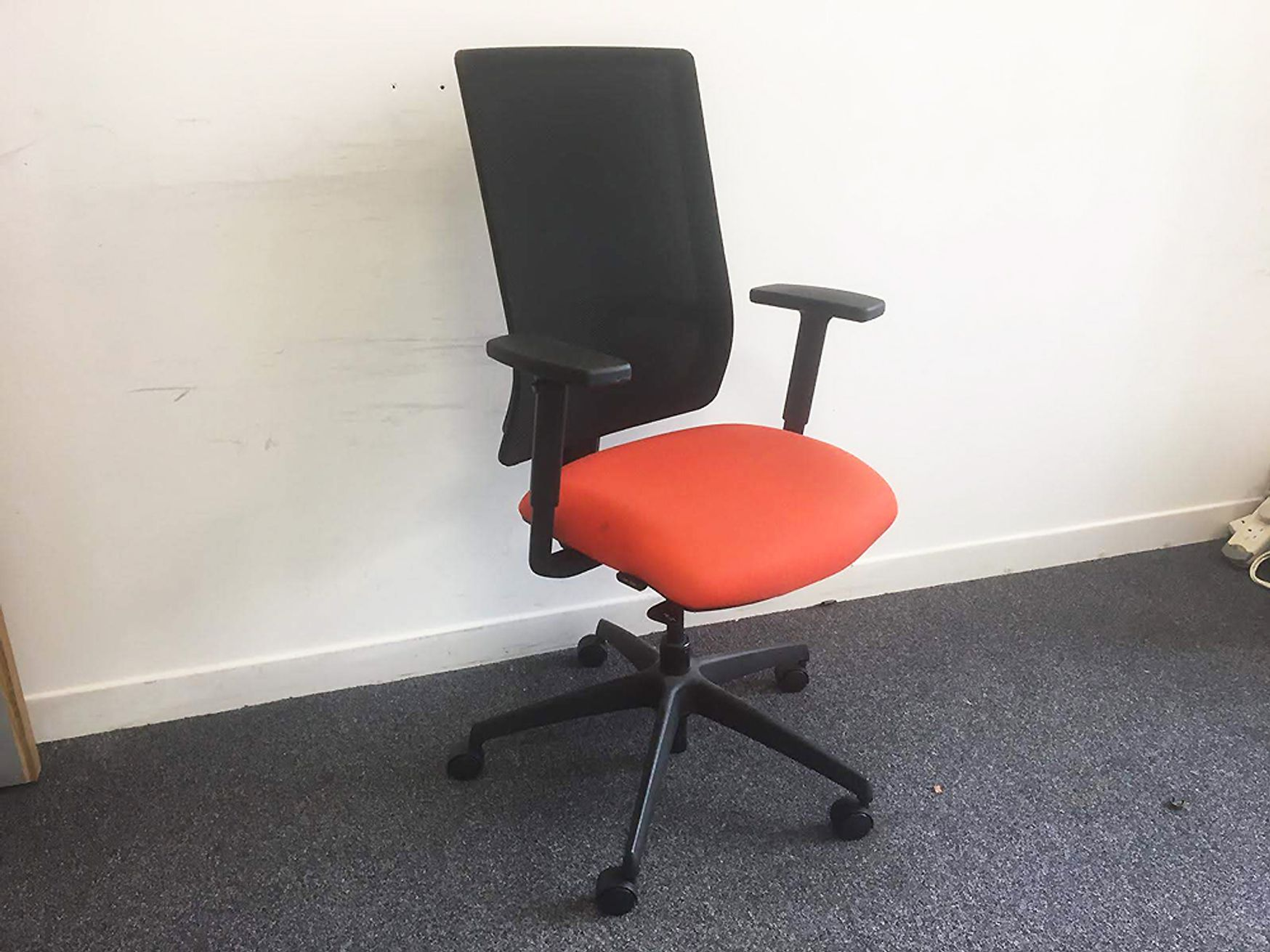 Used Boss Design Mesh Back Operator Chairs with Orange Fabric Seats