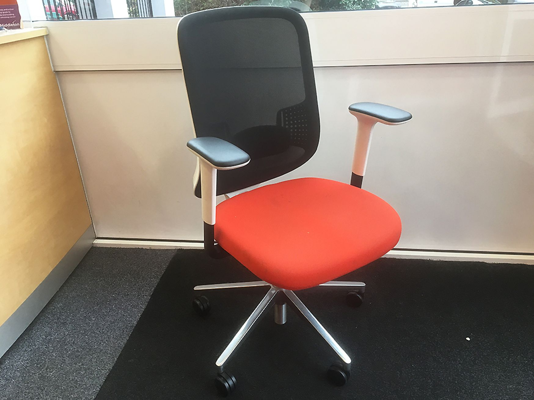 Used Orangebox 'Do' Mesh Back Operator Chair with Orange Fabric Seat