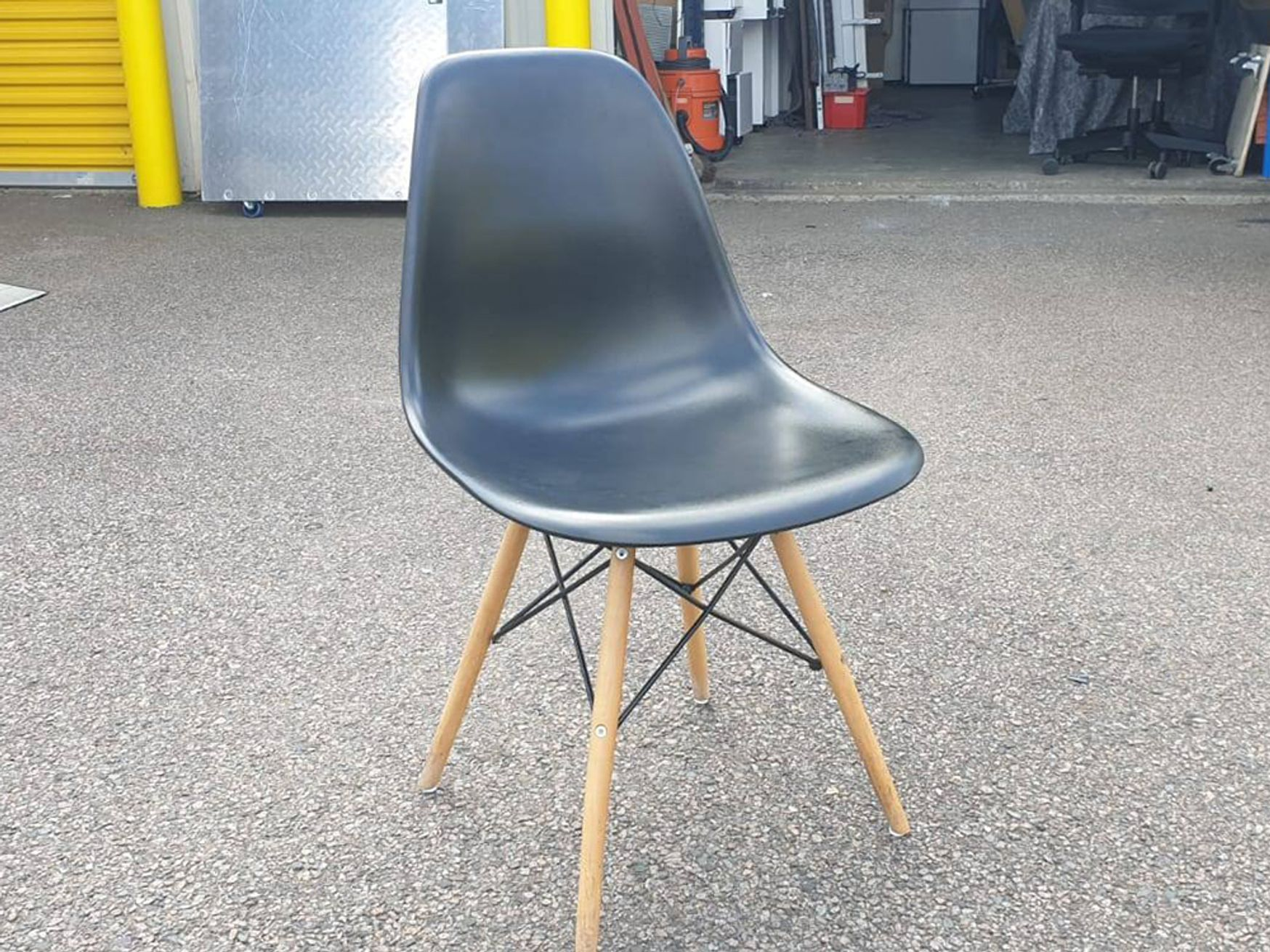 Used Eiffel Style Black Breakout Chairs with Wooden Legs