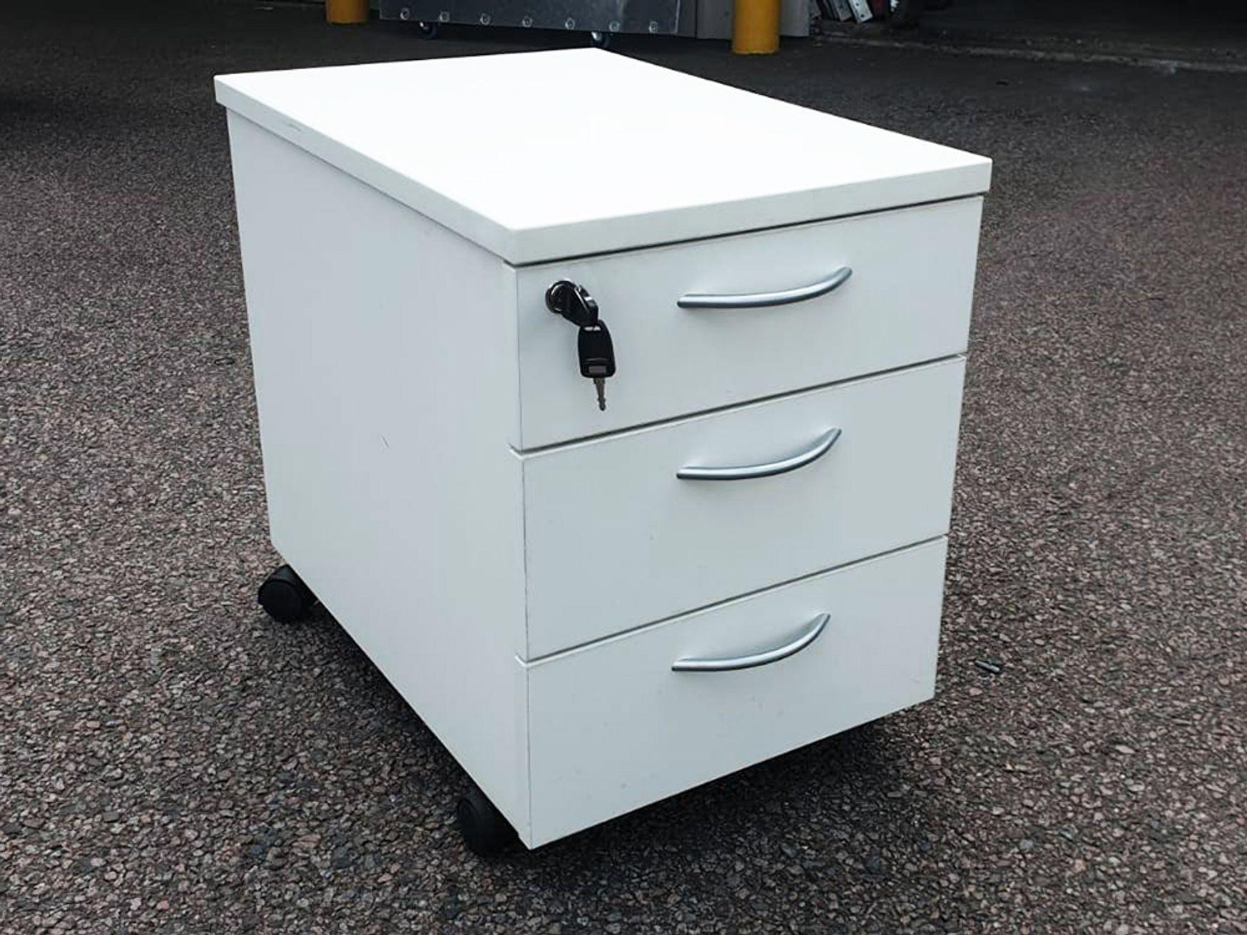 Used White MFC Under Desk Mobile Pedestals