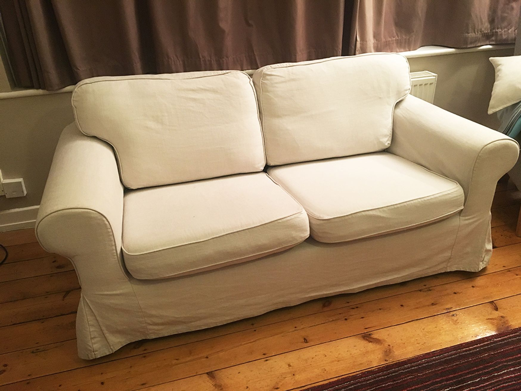 Used Beige Fabric 2 Seater Sofa