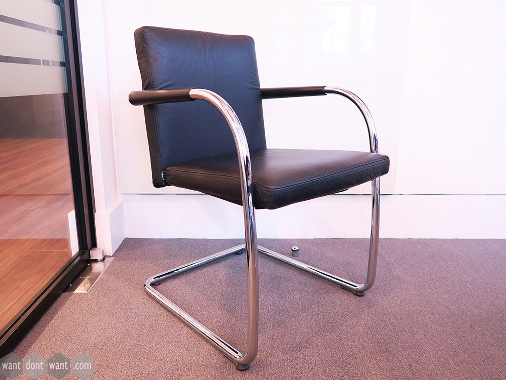 Used Vitra 'Visasoft' Black Leather Boardroom Chairs