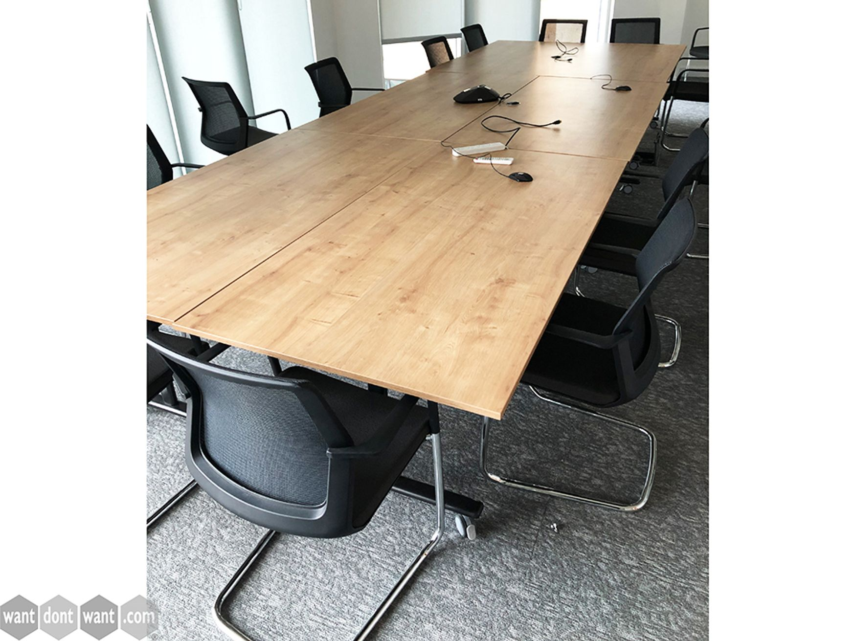 Used Techo 1800mm Flip Top Folding Tables in Natural Oak