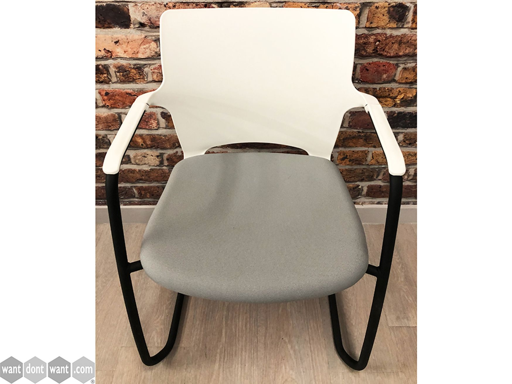 Used Connection Seating Cantilever Meeting Chairs with Fabric Seat and White Back