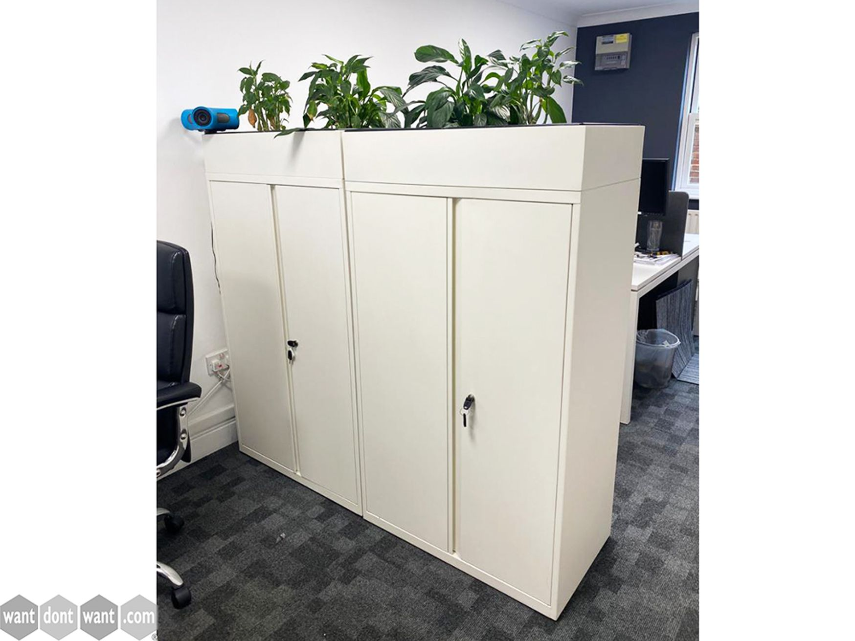 Used White Double Door Cupboard with Planter