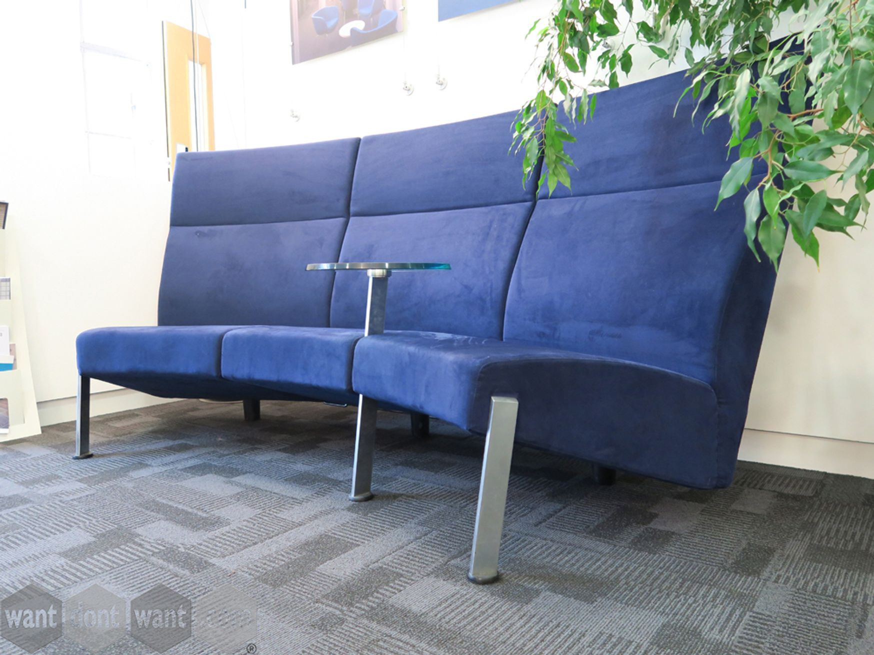 Used Fritz Hansen Curved High Back Sofa with Glass Table