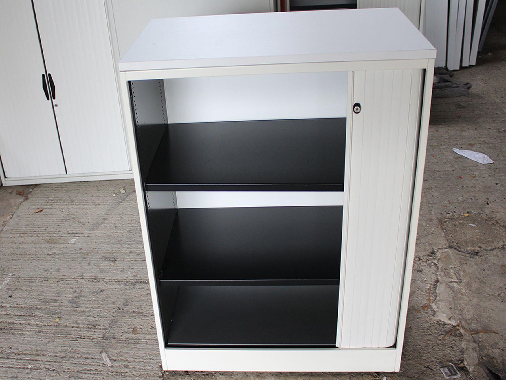 Ahrend Mid-Height Tambour Door Office Cupboards with Shelves