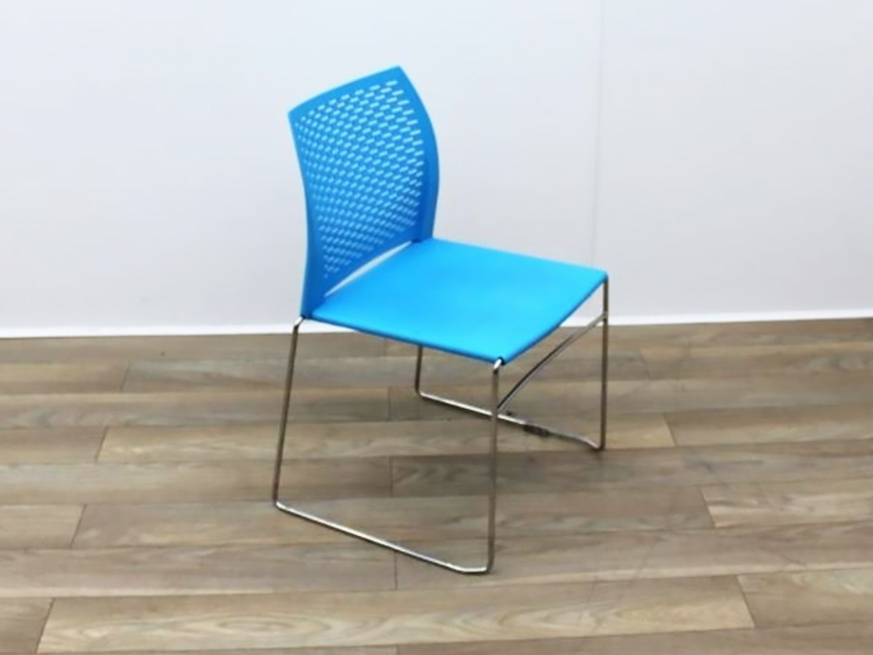 Used Blue Stacking Chair with Chrome Sled Frame