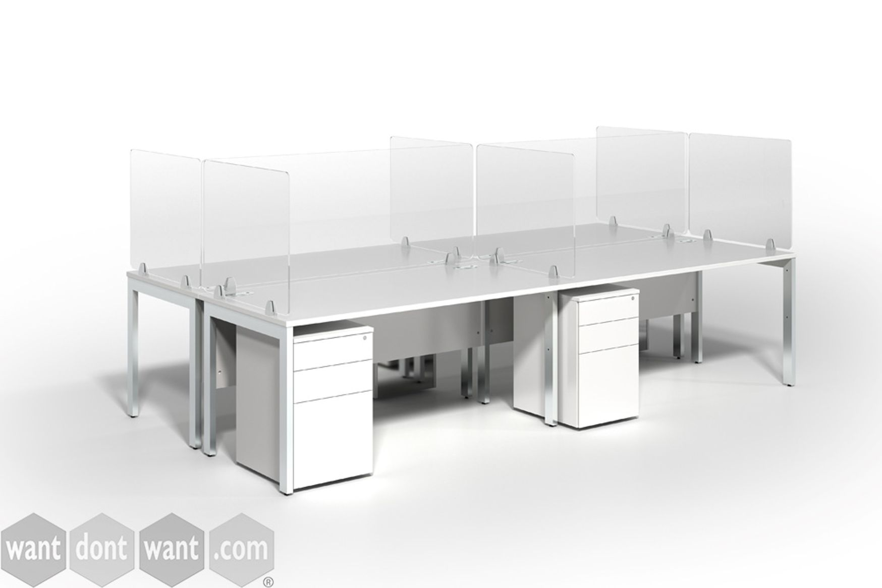 Acrylic desk mounted protective screens.