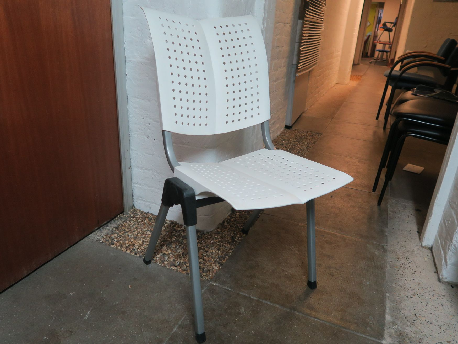 Modern white chair - white seat and back with silver frame