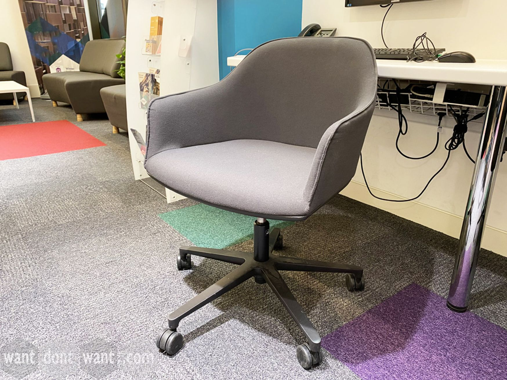 Used Vitra 'Soft Shell' swivel chairs on castors