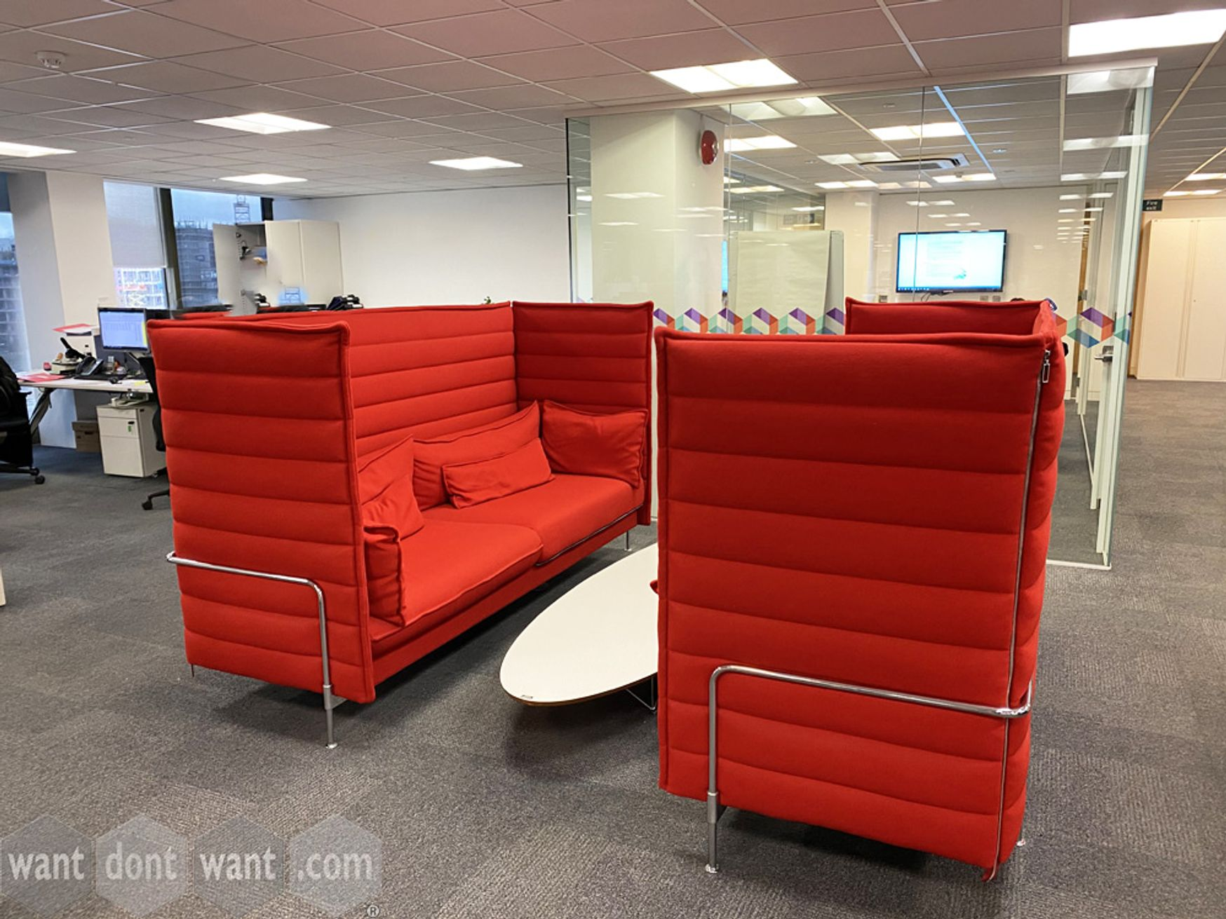 New advert just live, many high-end items for sale. Click photo to view full gallery. Includes used Vitra 'Alcove' high-back 3-seat sofas
