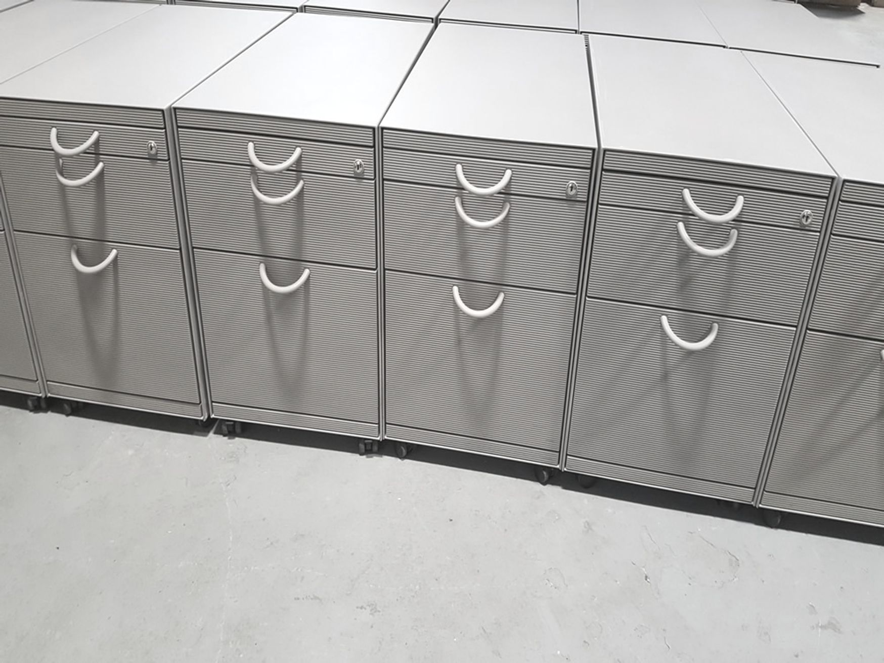 44 x Used Vitra 3-drawer 770mm deep pedestals with feature ribbed drawer fronts