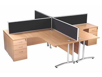 Brand New desk dividing screens with silver frame from stock