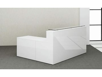 White gloss reception desk with a matching return unit from stock.