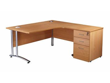 Our brand new desks from stock. These L-shaped desks are available in Beech (as above) or oak. Price includes desk height pedestal.