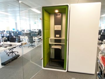 Fabulous used 'hushPhone' booths from Mikomax. This unit with light olive green internal acoustic panels