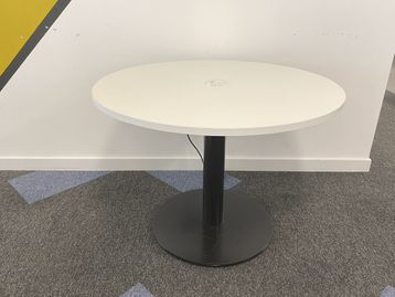 Used white meeting table with power/data module inset to the table top