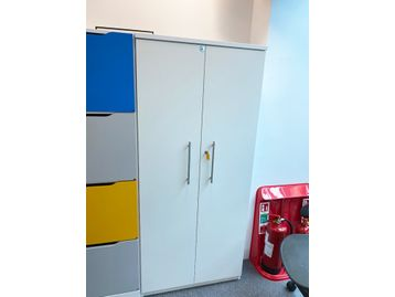 Used tall white double door cupboards