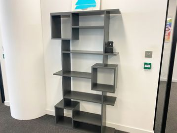 Used contemporary design shelf and display unit in grey finish