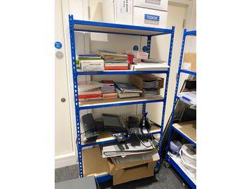 Used 4-shelf storage racks on castors