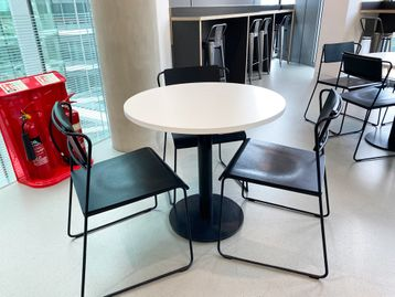 Used white cafe tables 800mm diameter
