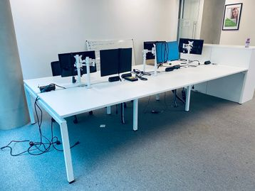 Used smart modern 6-person white bench desks within very good condition.