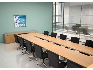 Modular tables on Top-Tilt base. Shown here in quality beech veneer and chrome frame