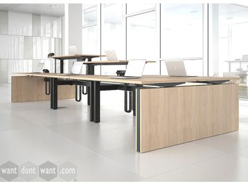 Electric Back-To-Back Sit/Stand Height Adjustable Desks with Panel End