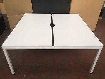 As new ex-display white bench desks with white 'U' legs