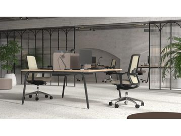 Brand new back-to-back desks with rounded corners and tubular legs. Many finishes and configuration options