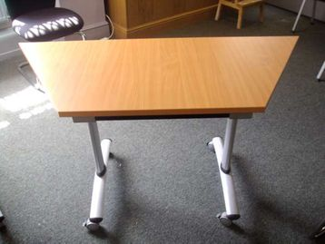 small trapezoidal tables in beech